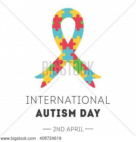 International Autism Awareness Day Banner. Ribbon With Colorful Puzzle Pieces Pattern. Jigsaw Mosaic