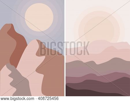 Poster Abstract Day Mountains  And Desert Sunset