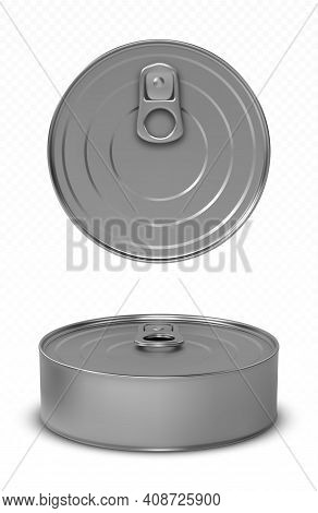 Tin Can Fish Or Pet Food Mockup With Pull Ring Top And Front View. Canned Round Metal Jar With Close