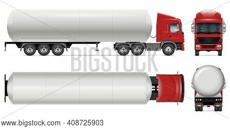 Tanker Truck Vector Mockup On White For Vehicle Branding, Corporate Identity. View From Side, Front,