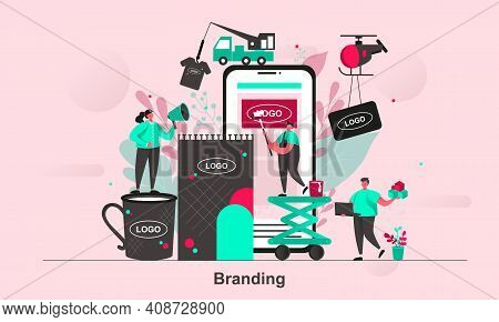 Branding Web Concept Design In Flat Style. Brand Building Occupation Scene Visualization. Corporate