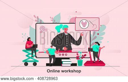 Online Workshop Web Concept Design In Flat Style. Online Training With Teacher Scene Visualization.