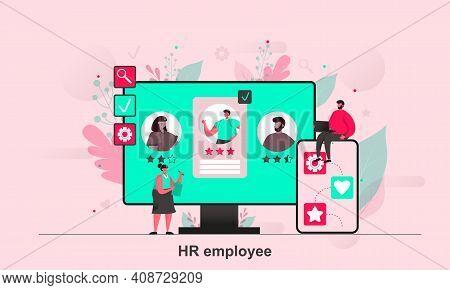Hr Employee Web Design In Flat Style. Headhunter Or Recruiter Study Candidates Scene Visualization.