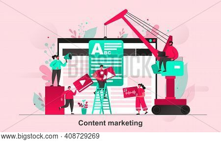 Content Marketing Web Concept In Flat Style. Content Managers Work With Media Information Scene Visu