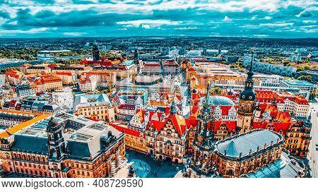 Dresden, Germany-september 08, 2015 :catholic Court Church(katholische Hofkirche).center Of The Dres