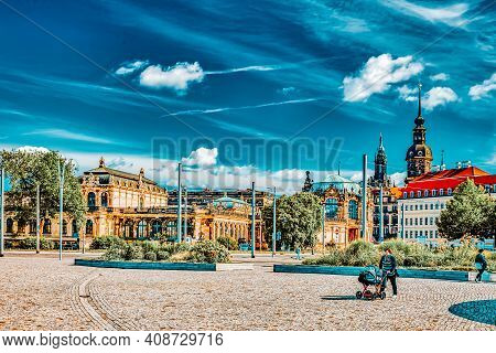 Dresden, Germany-september 08, 2015 :city Views One Of The Most Beautiful City Germany- Dresden. Peo