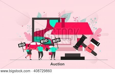 Auction Web Concept Design In Flat Style. Auctioneer And Bidding Byers Scene Visualization. People B
