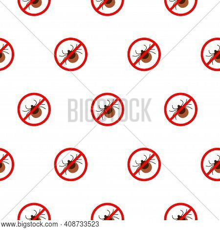 No Mite Tick Sign Pattern Repeat Seamless In Black Color For Any Design.