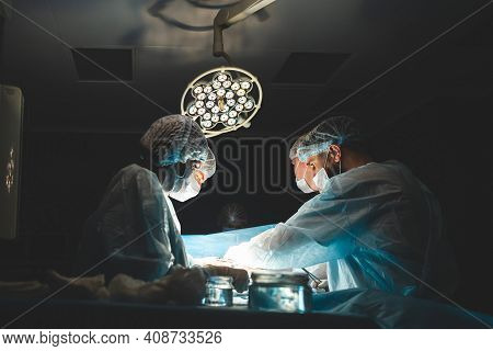 An International Professional Team Of Surgeon, Assistants And Anesthesiologist Perform A Complex Ope