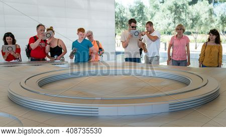 Cupertino, Ca, Usa - August 2019: Apple Store Cupertino With People Looking At Infinite Loop Apple H