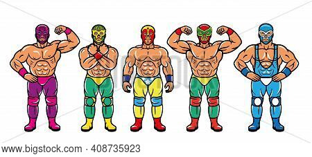 Lucha Libre Characters. Mexican Wrestler Fighters In Mask. Vector Illustration.