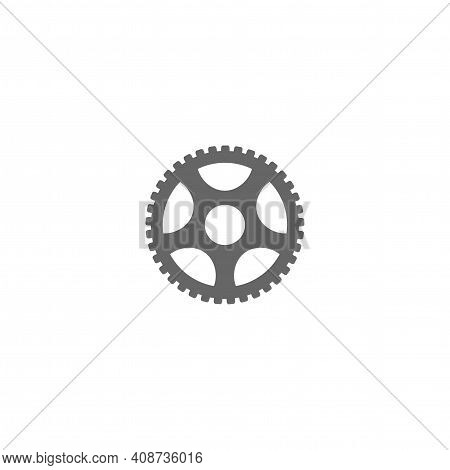 Black Simple Gear Icon Isolated On White Background. Pinion Vector Flat Illustration For Technology