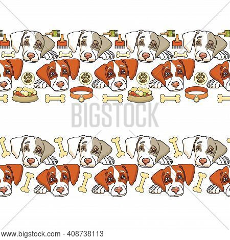 Dog Seamless Pattern. Cute Pets Head And Dogs Acsessory. Vector.