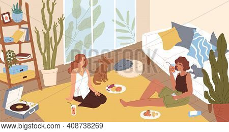 Young Women Sitting On Floor And Chilling In Lounge At Home. Female Friends Relaxing, Listening To M