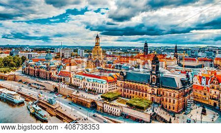 Histoirical Center Of The Dresden Old Town.river Elba. Dresden Has A Long History As The Capital And