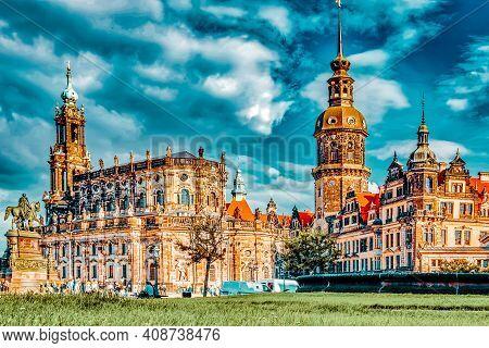 Theatre Square (theaterplatz) In The Historic Center Of Dresden,to The Right-katholische Hofkirche.