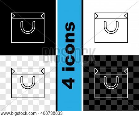 Set Line Shopping Bag Icon Isolated On Black And White, Transparent Background. Shopping Bag Shop Lo