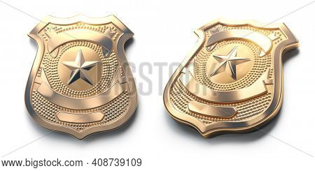 Police golden metal badge isolated on white Sign and symbol of police. 3d illustration
