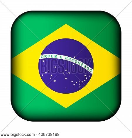 Glass Light Ball With Flag Of Brazil. Squared Template Icon. Brazilian National Symbol. Glossy Reali