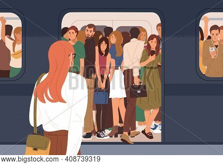 Subway Car Crowded With People In Rush Hour. Woman Failed To Enter Last Carriage Of Departing Train