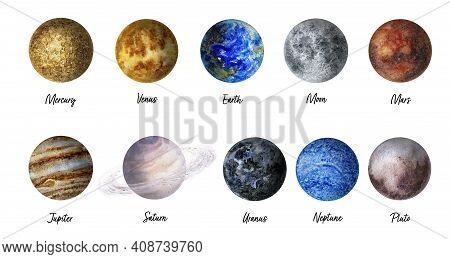 Planets Hand Drawn Watercolor Illustration. Mercury, Venus, Earth, Moon, Mars, Jupiter, Saturn, Uran