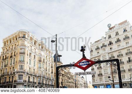 Madrid, Spain - November 1, 2019: Iconic Sign Of Gran Via Metro Station In Central Madrid.