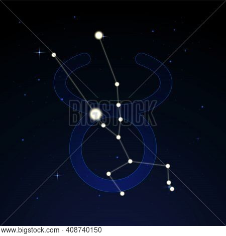 Taurus, The Bull. Constellation And Zodiac Sign On The Starry Night Sky.
