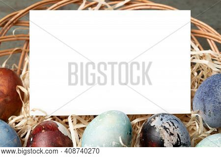 Easter Banner Background Template With Beautiful Colorful Eggs. Copy Space For Text.