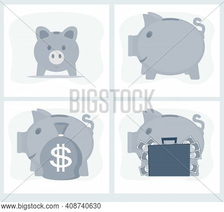 Pig Piggy Bank With Money Vector Illustration In Flat Style. The Concept Of Saving Or Save Money Or