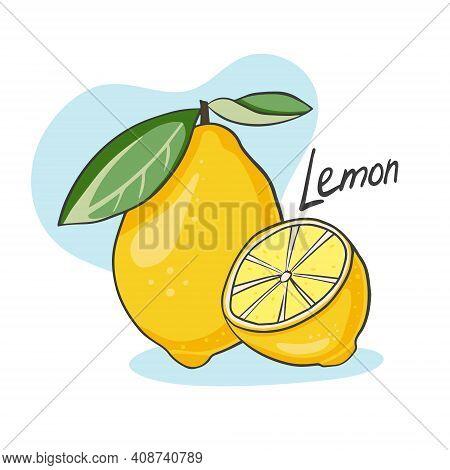 Ripe Juicy Lemon. Whole Citrus And Half. Vector Illustration Of Ripe Fruit. Diet And Vegetarian Food