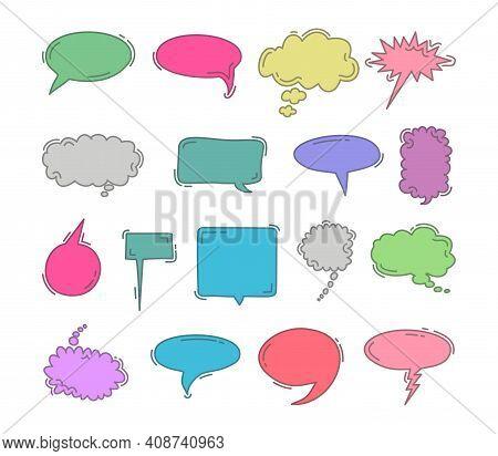 Chat Bubble Doodle Colorful Hand Draw Element Set. Vector Set Of Speech Bubbles. Doodle Hand Draw Li