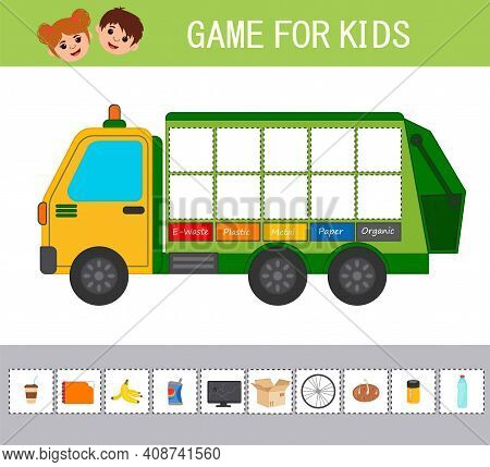 Game For Children. Waste Sorting Concept Illustration. Sort Garbage By Type. Garbage Truck. Educatio