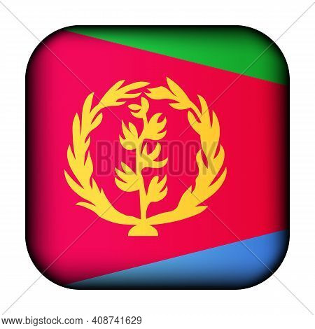 Glass Light Ball With Flag Of Eritrea. Squared Template Icon. Eritrean National Symbol. Glossy Reali