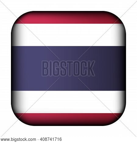Glass Light Ball With Flag Of Thailand. Squared Template Icon. National Symbol. Glossy Realistic Cub