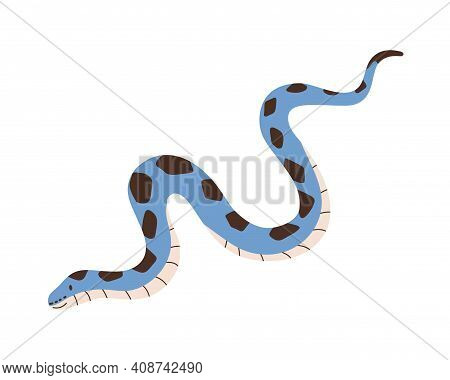 Cute Crawling Snake Isolated On White Background. Funny Kids Reptile Character. Smiling Blue-colored