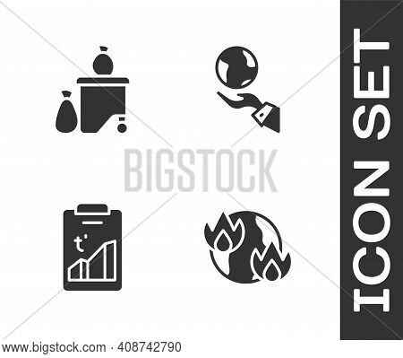 Set Global Warming Fire, Full Dustbin, And Hands Holding Earth Globe Icon. Vector