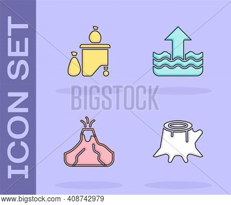 Set Tree Stump, Full Dustbin, Volcano Eruption With Lava And Rise Water Level Icon. Vector