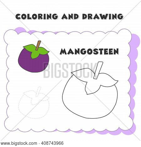 Coloring And Drawing Book Element Mangosteen. Drawing Of A Strawberry For Children's Education