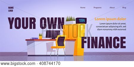Your Own Finance Cartoon Landing Page With Bank Office Staff Desk In Lobby, Workplace With Computer