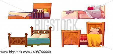 Wooden Beds With Blanket And Pillows Isolated On White Background. Vector Cartoon Set Of Single And