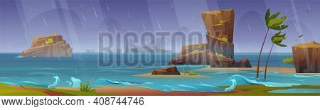 Tropical Storm On Ocean Beach With Palm Trees Bending And Rocks Around. Hurricane Rage On Sea With S