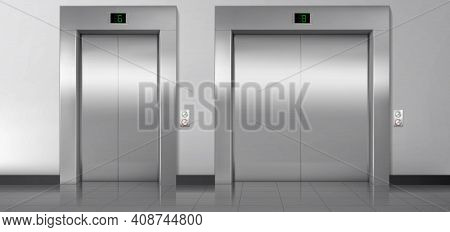 Lift Doors, Service And Cargo Closed Elevators. Building Hall Interior With Metal Gates, Buttons, St