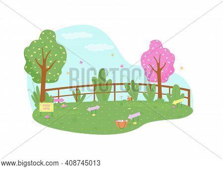 Park For Easter Egg Hunt 2d Vector Web Banner, Poster. Kids Activity. Public Garden For Childrens Ga