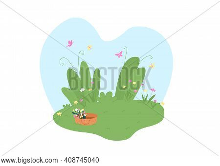 Spring Garden 2d Vector Web Banner, Poster. Basket With Flowers. Springtime Flat Scenery On Cartoon