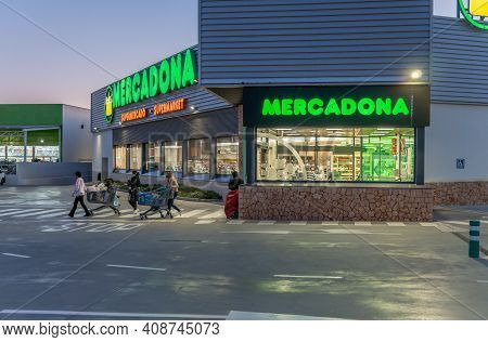 Campos, Spain; February 16 2021: Entrance Of A Supermarket Of A Spanish Food Chain (mercadona) By Ni