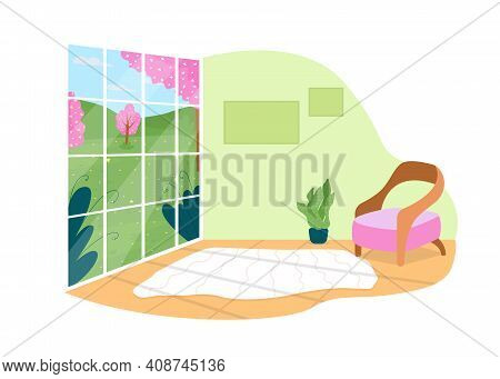 House With Panoramic View On Park 2d Vector Web Banner, Poster. Living Room With Large Window Flat S