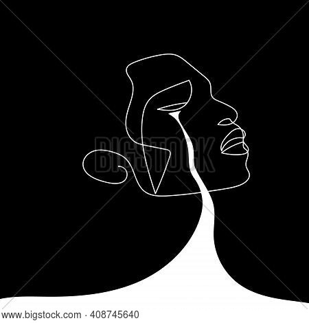 Continuous Line Abstract Face. Contemporary Minimalist Portrait..the Concept Of Mental Anguish, Pain