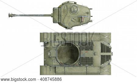 First Operational Heavy Tank Of The Us Army World War Ii And Korean War. Top View On Isolated Backgr