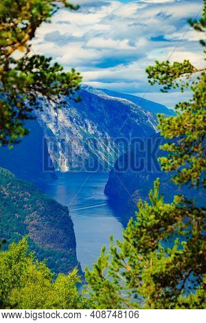 Amazing Dramatic View Of The Fjords And Mountains. Aurlandsfjord Fjord Landscape In Norway Scandinav