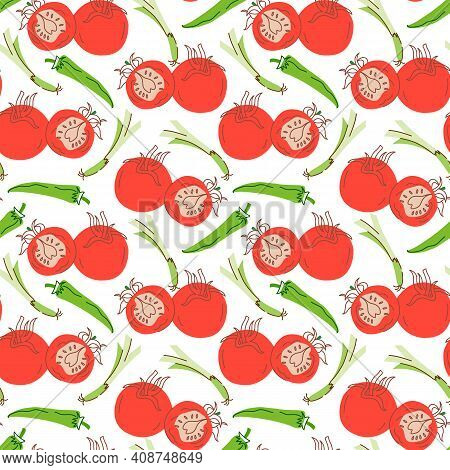 Vegetable Pattern With Composition Chilies, Lemongrass, Tomatoes Element. Perfect For Food Backgroun